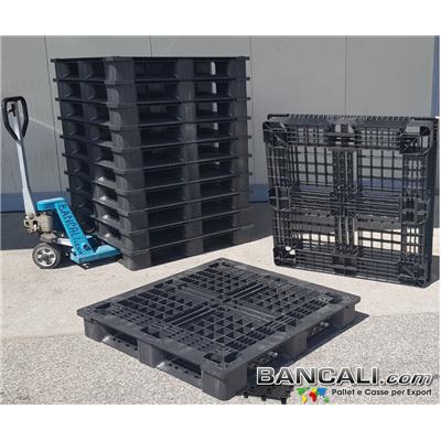PM114x114CP9Q - Bancale in Plastica Quadrato 1140x1140 mm. h.150 per Container Pallet Strutturale Pianale Grigliato a Sbalzo. Portata Medio Robusta. Tara Peso: 14,5 Kg.