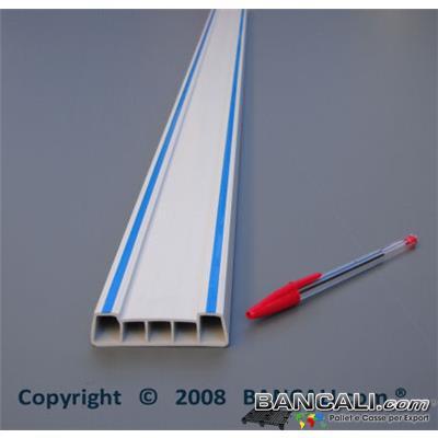 Profilato in Plastica  70x20 mm. Stecche Verghe in PVC Bianco con 2 Striauture in Gomma Blu, per uso Universale. Venduto al Metro Lineare, Tagliato su Misura.