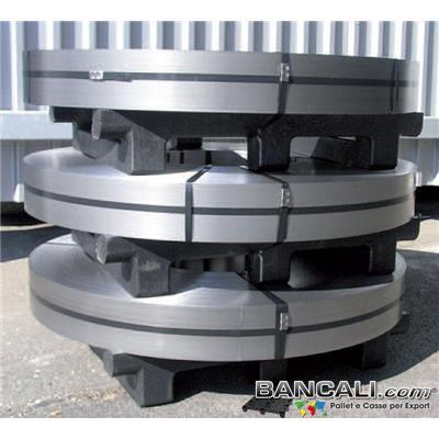 Pallet-Bandelle84x100 - Bancale in Plastica Riciclata per lo stoccaggio di Dischi Metallici o Bandelle metalliche. dimensione 840 mm x1000 mm; altezza 180 mm Kg. 21; Inforcabile 2 Vie.