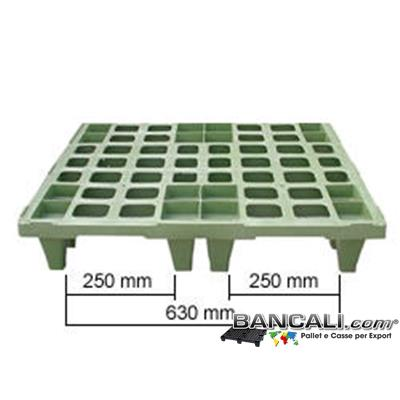 "Pallet-Nest-MultiPiede-80x110-Reefer - Pallet in Plastica 800x1100 mm. inseribile come i ""Vasi dei Fiori""; inforcabile da tutti 4 i Lati = 4 Vie, dotato di 16 Piedini, Grigliato a maglia quadra, idoneo per Portata Leggera e per Export. Altezza 136 mm. Peso Tara 4 Kg."
