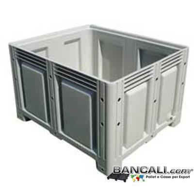 PalletBox_100x120_h760P4cH - Contenitore Cassa Cassone 1000x1200 h 760 mm. in Plastica Vergine HDPE, 4 Piedi; Pareti Chiuse Fondo Chiuso, Litri  680