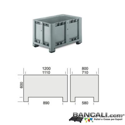 Pbox80x120h75CP - Pallet Box in plastica 800x1200 h.750 mm. Contenitore in Materiale HDPE  Vergine di prima Fusione, per uso Universale , colore Grigio con 4 Piedi. Capacità 500 Litri. Peso Tara  32 Kg.