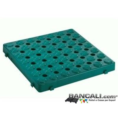 Ped50x50h5Sig - Pedana Forata incastrabile 500x500 h.50mm Passerella Pedonabile Pavimentazione in plastica, componibile su 4 lati stampata in Colore Verde Bottiglia PesoTara: