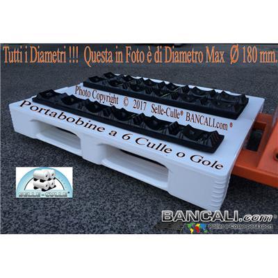 Porta-Bobine-6-D18-d12-Lung.107-PET-YA-42-6 - Porta Bobine in Plastica PET Parallela con 6 Culle per Bobine da Diametro fino a Ø 180  Tara Kg. 0,400