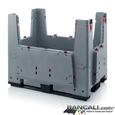 RPG3T100x120AP - Cassa ripieghevole  1000x1200 h.1000 in plastica atossica , 3 TRAVERSE , e 4 VANI D'accesso o Portelli. Pareti chiuse Peso Tara 58 Kg.