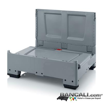 RPGV100x120AP - Cassa ripieghevole  1000x1200 h.1000 in plastica atossica , Pareti Chiuse 4 piedi, Peso Tara 44 Kg.