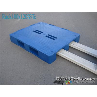 Rack-100x120-CP1-Stack-TS3-E       - Bancale in Plastica 100x120 h. 170 mm Piano Chiuso con 4 Fessure al centro e 3 Slitte sotto;  molto resitente idoneo a Scaffalature. Peso  28 Kg.
