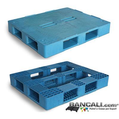 Rack-100x120-CP6-Perim-S5-F4-E - Bancale Rettangolare in Plastica 1000x1200 mm. Piano Chiuso con 4 Fessure al centro e 5 Slitte sotto;  idoneo a Scaffalature. Peso  28 Kg.
