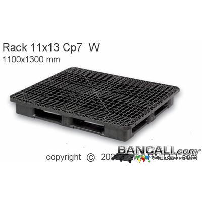 Rack-110x130-CP7-Perim-S5-QW   - Bancale in Plastica Rettangolare 1100x1300  h.170 mm Sovrapponibile Perimetrale con 5 Slitte Piano Grigliato.  Kg. 24