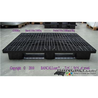 Rack-110x130-CP7-Perim-S5-Q - Bancale in Plastica Rettangolare 1100x1300  h.170 mm Sovrapponibile Perimetrale con 5 Slitte Piano Grigliato.  Kg. 24