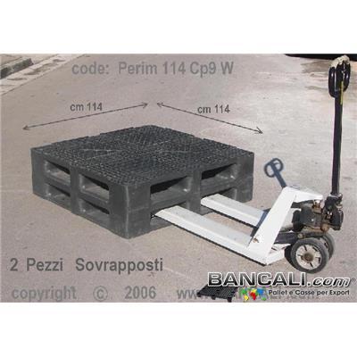 Rack-114x114-CP9-Perim-S6-W - PALLET Quadrato in Plastica  1140x1140  h. 170 mm Perimetrale per Grosse Portate su Scaffale Rack, CP9  Grigliato. Disponibile sia a 6 Slitte che a 3 Binari  Peso Tara 25 Kg