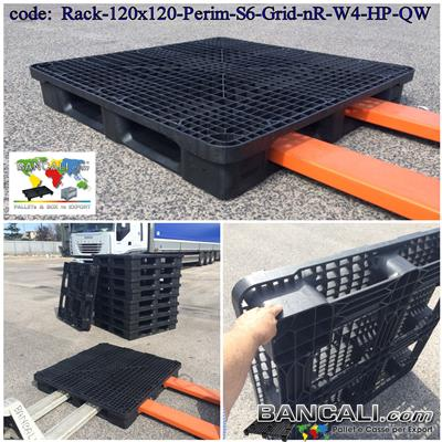 Rack-120x120-Perim-S6-W                - PALLET Quadrato in Plastica 1200x1200  h.170 mm Perimetrale per Grosse Portate su Scaffale Rack, Grigliato. Disponibile sia a 6 Slitte che a 3 Binari  Peso 28 Kg.
