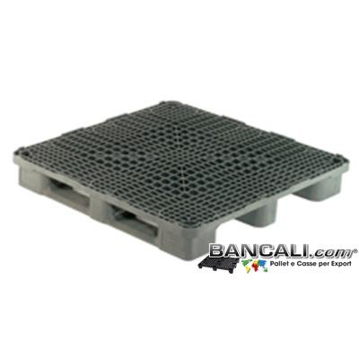 Rack-Stack-120x120-S3-W - PALLET Quadrato in Plastica 1200x1200  h.170 mm Sovrapponibile per Grosse Portate anche su Scaffale Rack, Grigliato. Con 3 Binari  Peso 26 Kg.
