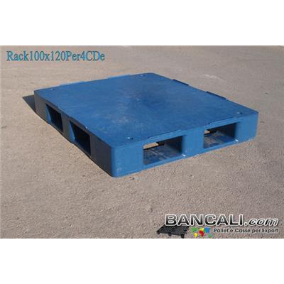Rack100x120Per4CDe - Bancale in Plastica 100x120 Piano Chiuso  (con 4 Slitte = Perimetrale)  molto Forte e Resitente idoneo a Scaffalature. Peso  29,7 Kg.