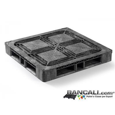 Rack114CP9CDQ - PALLET Quadrato in Plastica 1140x1140  h.160 mm Perimetrale Grosse Portate su Scaffale Rack, CP9  a piano Semi Chiuso in HDPE Peso Tara 26 Kg