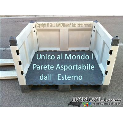 (english) Pallet Removable Box in Plastic 1000x1200 h. 714mm.Assembly indipendend Walls 4 Ways HDPE Speciale Tara Peso: 39 Kg.