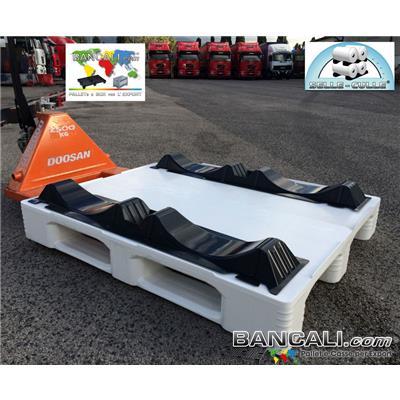 Rollensicherung-2-d50-D57-Länge114-PET-YA-45-2-D - Tür-Spulen PET kunststoff mit 2 wiege für die unterstützung von zwei rollen durchmesser von 500 bis 570 mm ø. Verpackung mit Sättel zum Stapelbarkeit  von multi-schichten-folie pro palette. Länge 1140 mm Breite. 230 mm = gr. 450