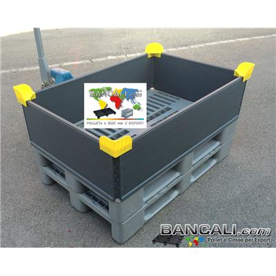 Sponde Pieghevoli 800x1200 h.300 cm. in plastica di Polipropilene con 4 Cerniere Cinture modulari in altezza. Peso Tara 6,5 Kg,