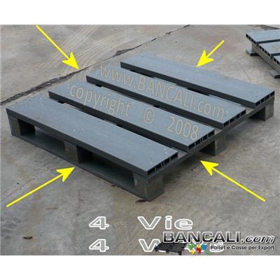 Sea4Vie110x110 - Bancale Quadrato 110x110 in Plastica, con tavole cannettate in Plastica,  ideale per essere imbullonato;  molto Forte e Robusto;  3 Slitte sotto  =  3 Binari; inforcabile su 4 Lati; Kg 37  Idoneo all' EXPORT.