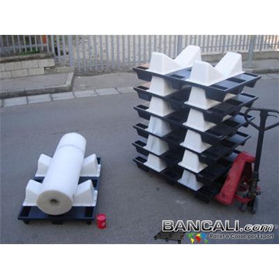 Sella-Culla-Pallet-Nest80x120CDi - EuroPallet 80x120 con montate 2 Selle-Culle Sovrapponibile e Accatastabile. Dotato di 4 fermi assemblati addizionalmente. Peso Cumulativo 10,2 KG.