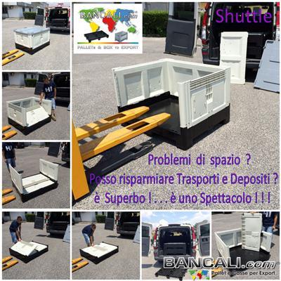 Shuttle100x120h97 - Box Shuttle Contenitore 800x1200 h.97 mm in Plastica con Pareti ripieghevoli Riduce l'ingombro e costi di trasporto Colore Avorio e Nero Peso Tara 52 Kg.