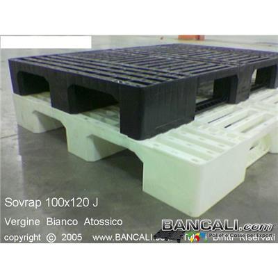 Sov100x120A4L - Bancale di plastica sovrapponibile 1000x1200  Robusto Monoblocco con  3 slitte o traverse,  a pianale grigliato o fessurrato, ottimo per movimentazione interna ed export colore Nero  Peso Tara 15 Kg
