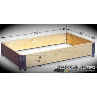 Sponde Pieghevoli a Rombo in LEGNO  800x1200 h. 200 cm.  con 4 Cerniere; Paratie destinate a contenere le merci. Cinture utilizzate in modo modulare in altezza.