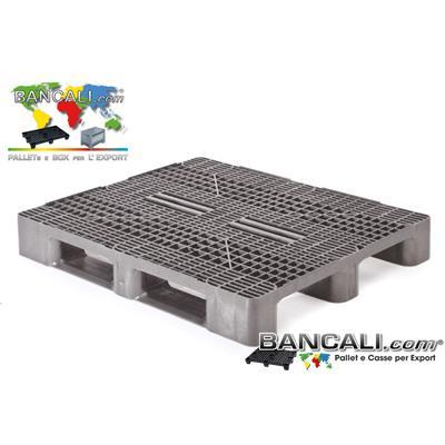 Stack-100x120-h16-S3-CP1-Grid-HD-Q-U - Pallet Sovrapponibile 100x120 robusto con pianale grigliato, a 3 slitte o Binari, in Plastica, idoneo alle grosse portate. Consentito ai Lavori Pesanti e Frequenti per la logistica. Peso Tara 20 Kg.