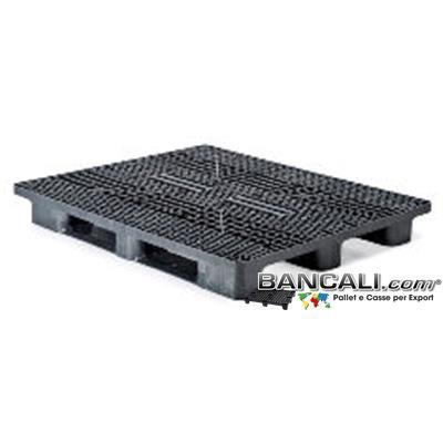 Stack-110x130-CP4-S3-Q - Bancale in Plastica Rettangolare 1100x1300 Sovrapponibile con 3 Slitte Piano Grigliato (Stile EuroPallet)  Kg. 22  per Portata Pesante