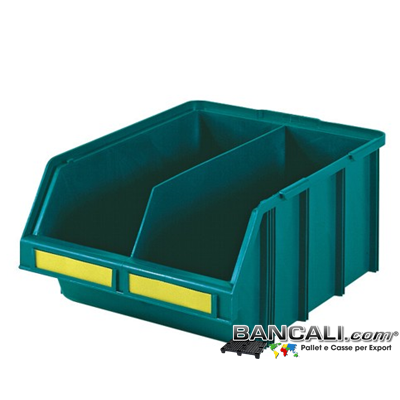 lupo437x570xh247SepV - Contenitore in Plastica a bocca di lupo,437 x 570 h 247  mm. per il prelievo manuale del contenuto nei magazzini e nelle catene di montaggio, Multicomponibili autoportanti, dotato di separatore. Colore Verde, plastica Atossica. Peso Tara 2,43 Kg.
