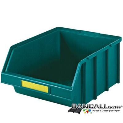 lupo437x570xh247V - Contenitore in Plastica a bocca di lupo,437 x 570 h 247  mm. per il prelievo manuale del contenuto nei magazzini e nelle catene di montaggio, Multicomponibili autoportanti. Colore Verde, plastica Atossica. Peso Tara 2,08 Kg