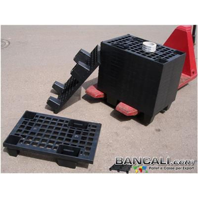 microPALLET® in PLASTICA 400x600 mm. pianale grigliato , 4 Piedi  Asimmetrico Inforcabile su 4 Lati ( 4 Vie), EXPORT-PALLET®  Peso Tara 1,4 Kg.