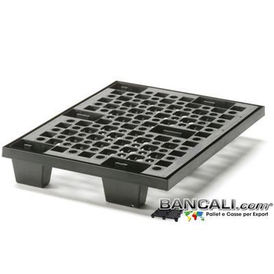 miniPAL60x80V - miniPALLET Asimmetrico 600x800 mm. in Plastica Robusto inseribile a 6 piedi Grigliato con Maglia a cerchi inforcabile 4 Vie Tara Peso 4,8 Kg.