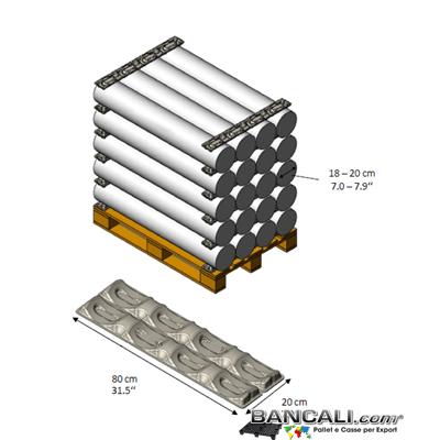 PortaBobine a 4 Culle con Diametro per Cilindri o Rotoli fino a  Ø 200 mm. in Fibra di Carta o Polpa di Cartone Lunghezza 800 mm. Peso Tara 300 gr. circa.